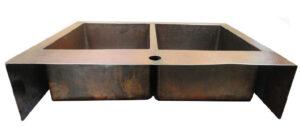back side of a copper vessel sink