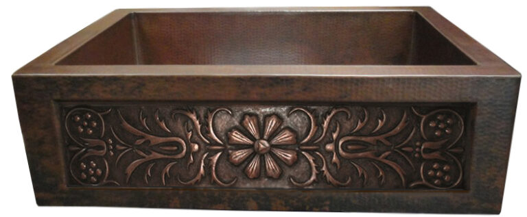 copper apron front sink with flower design