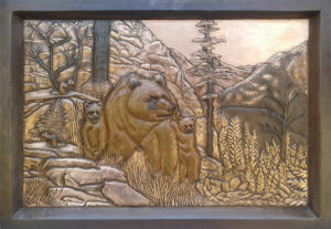 copper mural with a bears
