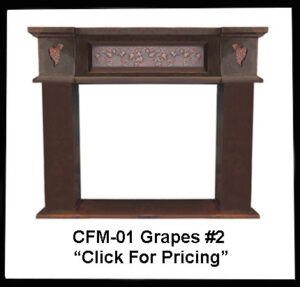 copper fireplace mantel with grape design