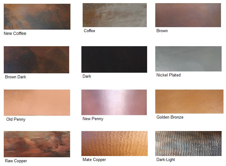 Copper patina finishes Samples