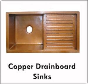 Copper drainboard sinks