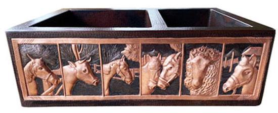 copper kitchen sink with animal designs