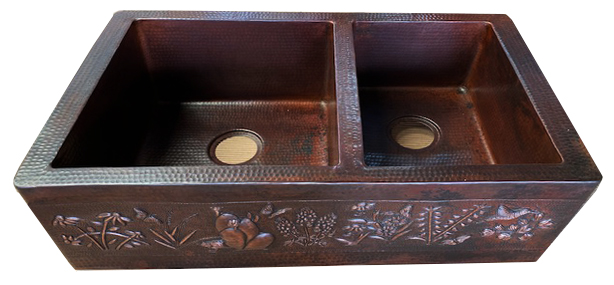 Copper kitchen sink with 40/60 bowl