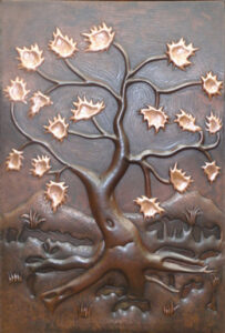 copper mural tree with new penny leaves