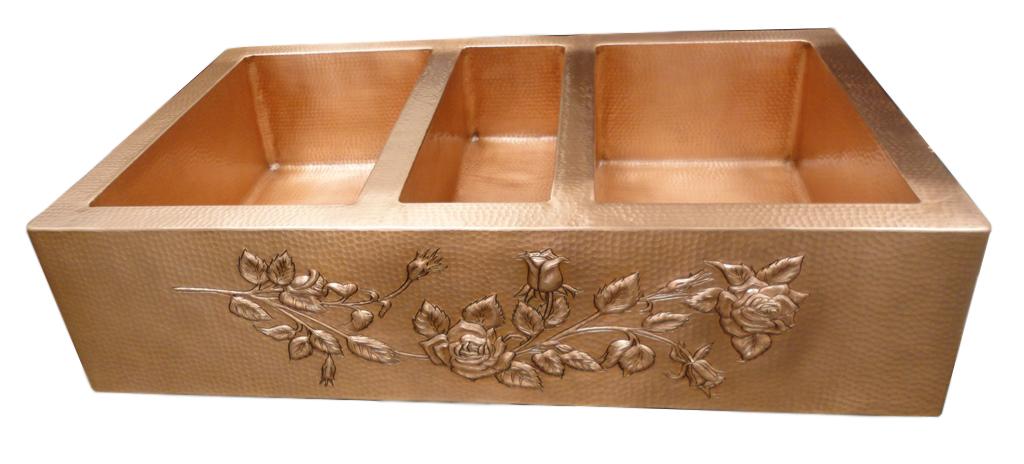 Copper sink in mate copper