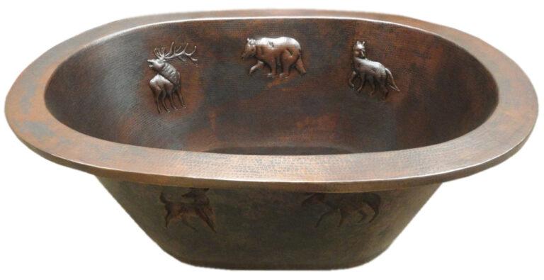 oval copper tub with interior design