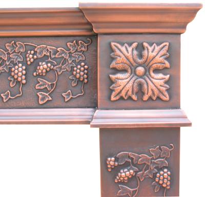 copper fireplace mantel corner design