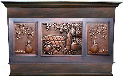 copper range hood with custom apron designs