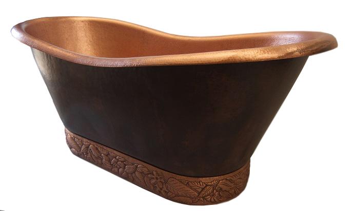 copper bath tub with custom designed base