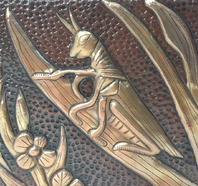 copper tile with grasshopper
