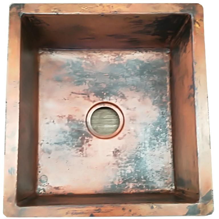 Copper sink in raw copper finish