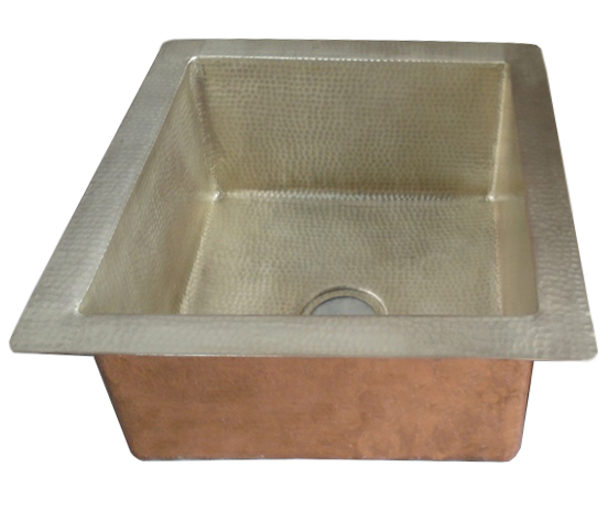 copper sink in nickel plated patina
