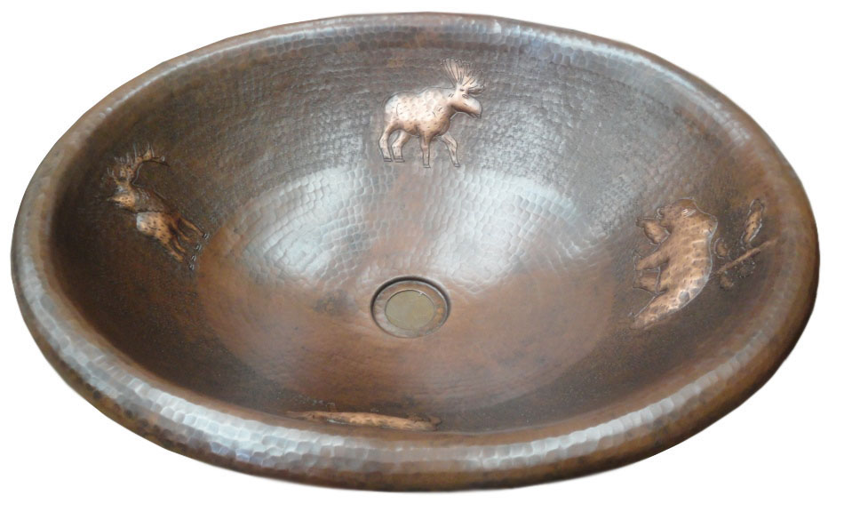Copper sink with wild life animals design