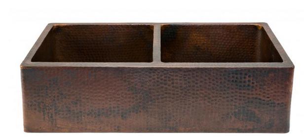 Copper double bowl drainboard sink