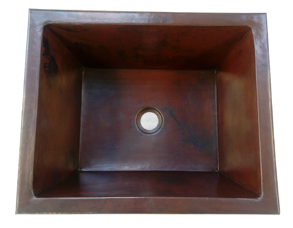 Copper sink with brown dark patina finish