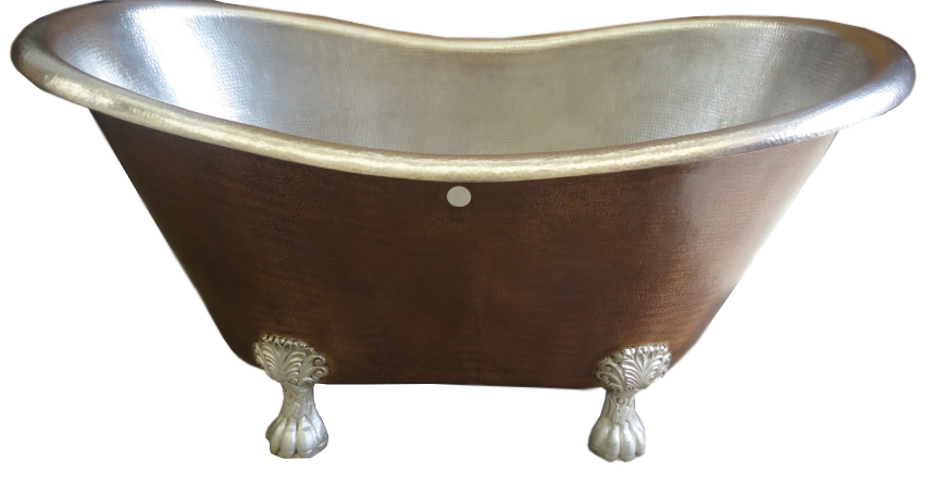 copper claw foot bath tub with nickel plated interior