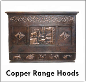 Copper hood range with mural design