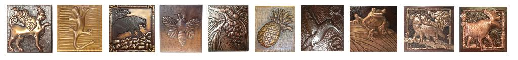 Copper tile samples for range hoods