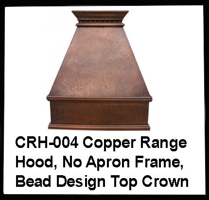 copper range hood with no apron frame