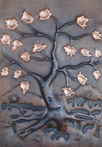 copper mural tree with coffee patina and new penny leaves