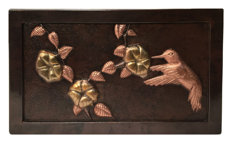 Copper mural with humming bird design