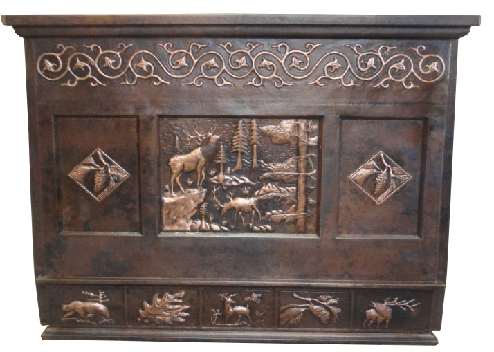 copper rang hood with tile designs