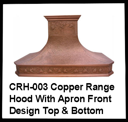 copper range hood with apron front design