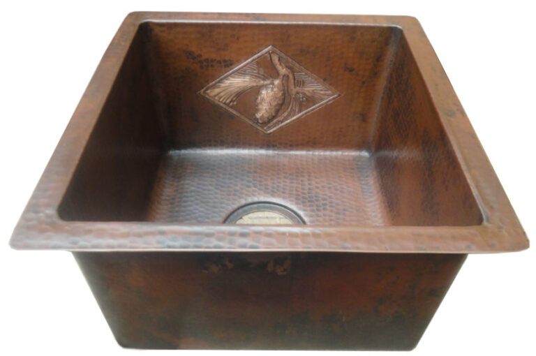 Copper bar sink with new coffee patina and tile design