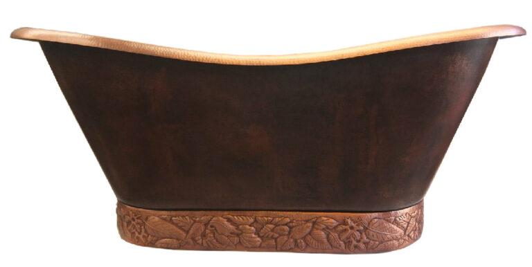 copper pedestal bath tub with tiled designed base