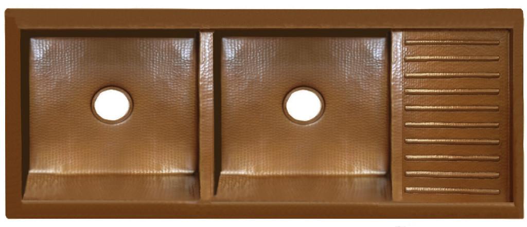 Custom copper drainboard sink