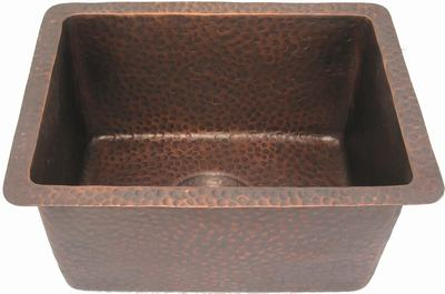 copper sink in coffee patina