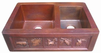 copper kitchen sink in flamed patina finish