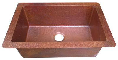 copper sink with flamed patina finish