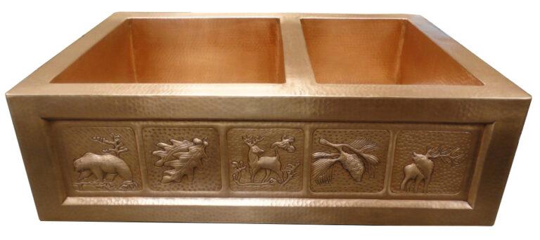 Copper kitchen sink in golden bronze patina