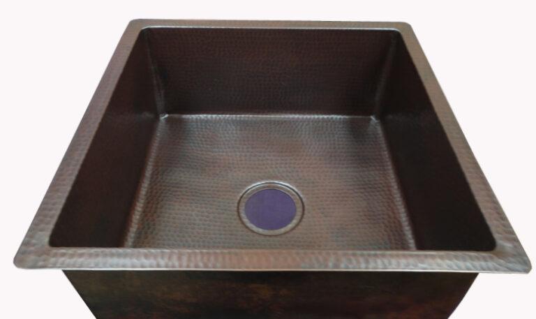 copper sink in dark patina