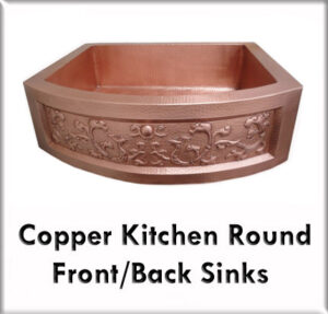 Copper kitchen round front & back sinks