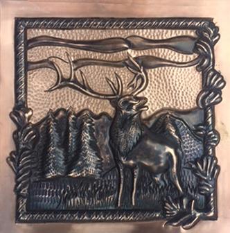 Copper tile with elk design