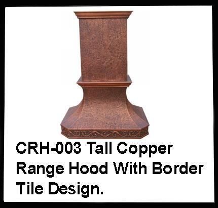 Tall copper range hood with border tile design