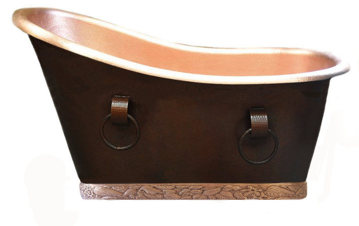 copper single slipper bath tub with golden bronze patina interior