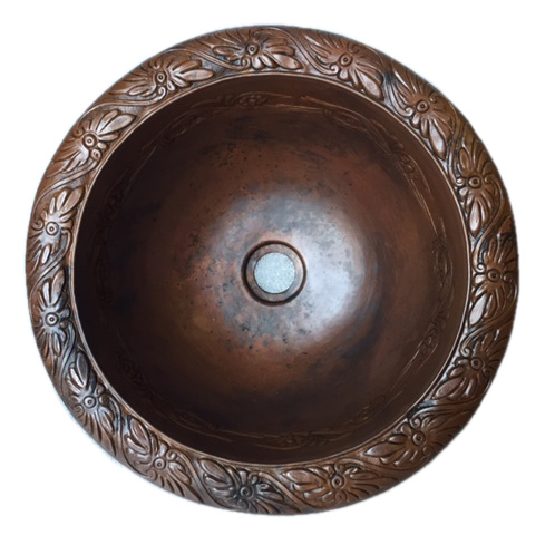 copper sink in Brown Dark Splotch patina finish