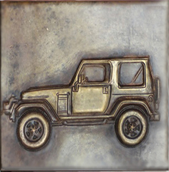 custome tile with jeep design