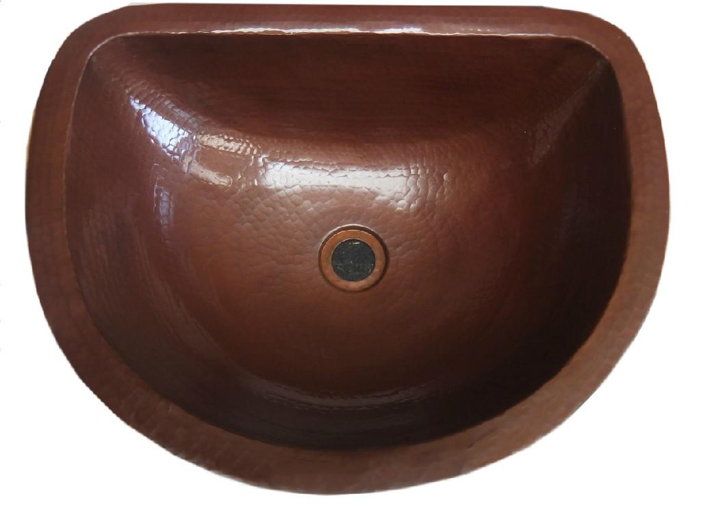 Copper sink in brown finish
