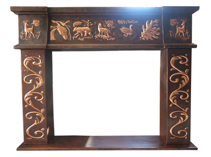 copper fireplace mantel with wild life design