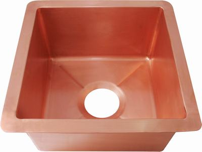 copper bar sink in new penny patina