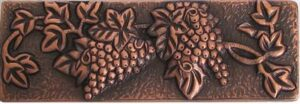 copper border tile with strawberrys