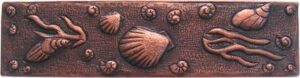 copper border tile with sea shell designs