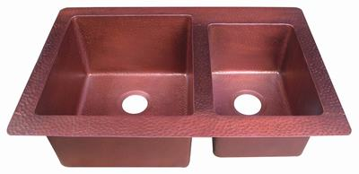 Copper sink in desert rose patina finish