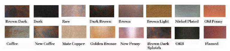 copper patina finish samples