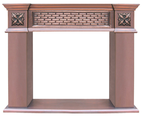 copper fireplace mantel with brick design